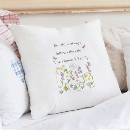 💐Personalised Country Diary Wild Flowers Cushion Cover .You can then personalise this beautiful rustic cushion with 3 lines of text up to 20 characters per line. All personalisation is case sensitive and will appear as entered.  Cool wash only. Iron on reverse only.  The material of this product is 100% cotton.  Cushions are not included. Dimensions: 42.5cm x 43.5cm x 1cm 💐