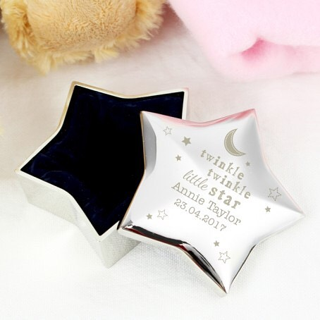 Our Personalised Twinkle Twinkle Star Trinket is an ideal place to store precious treasures This Star Trinket can be personalised with a 2 lines of text, with up to 15 characters on each line.  Shop our bio to see item #babyshower #babyboy #babygirl #giftidea #star #jewellery #insideparadisenantwich #nantwich