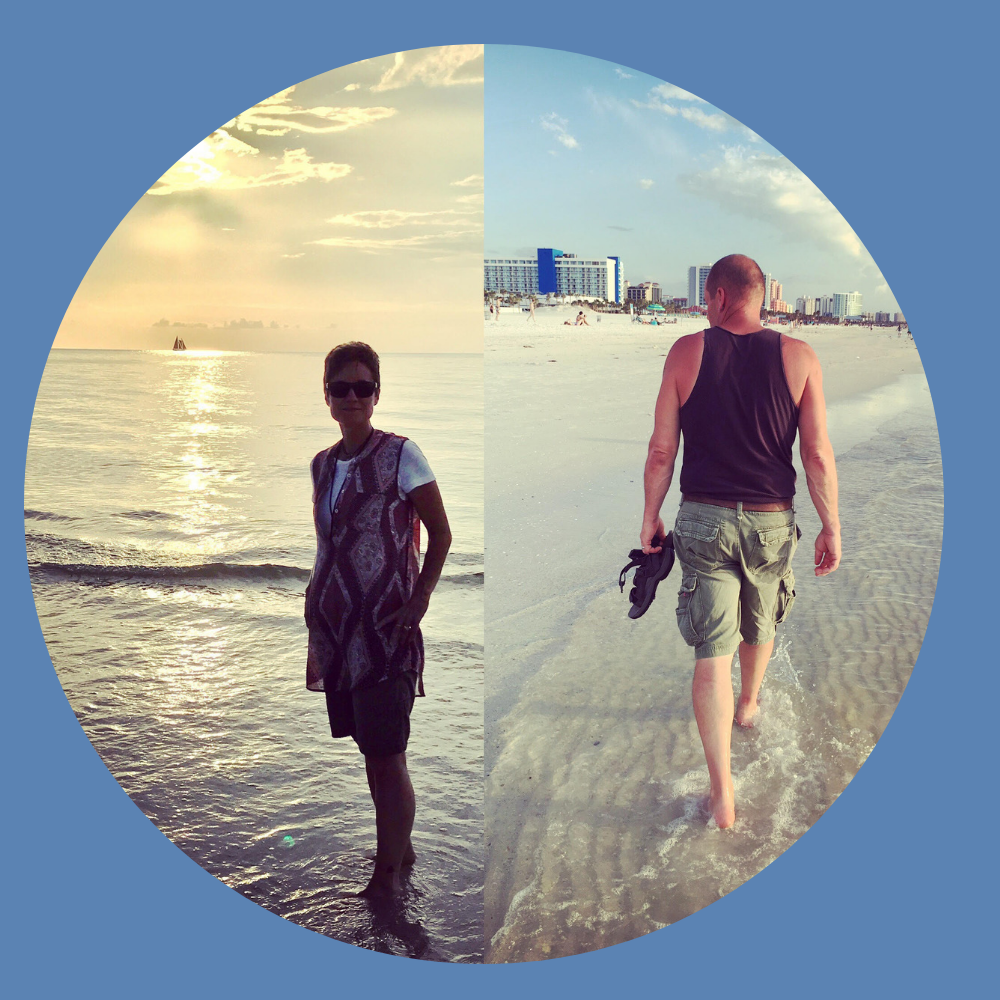 My husband and I walking the beach in clearwater, fl.