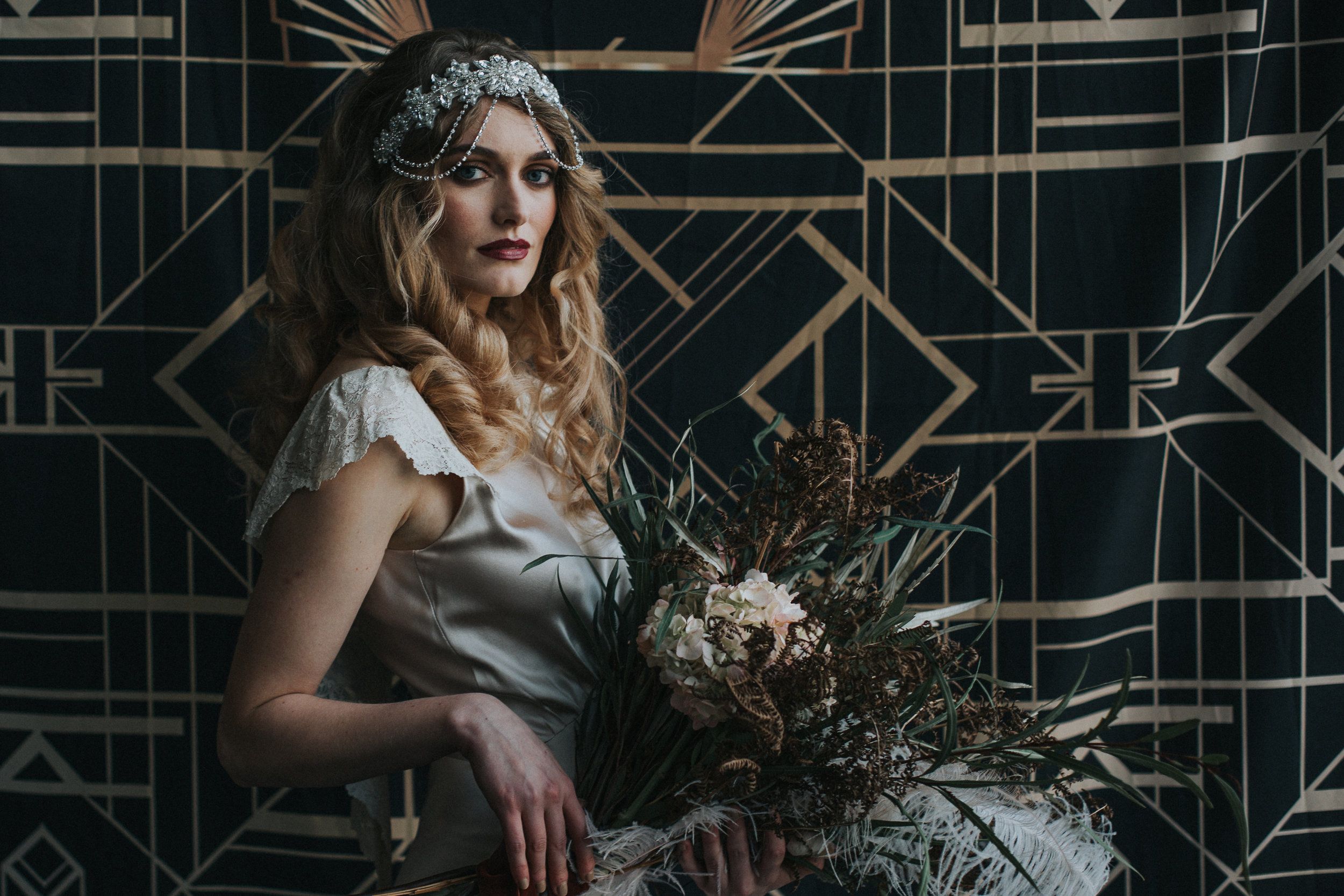 Gatsby-inspired-shoot-vintage-wedding-gown-oyster-silk-Kate-Beaumont