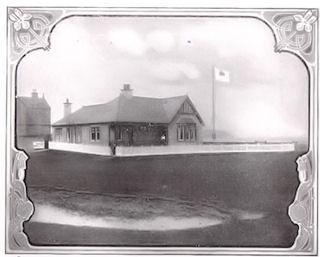 The photograph shows the original Burgh Golf Club House around 1920.