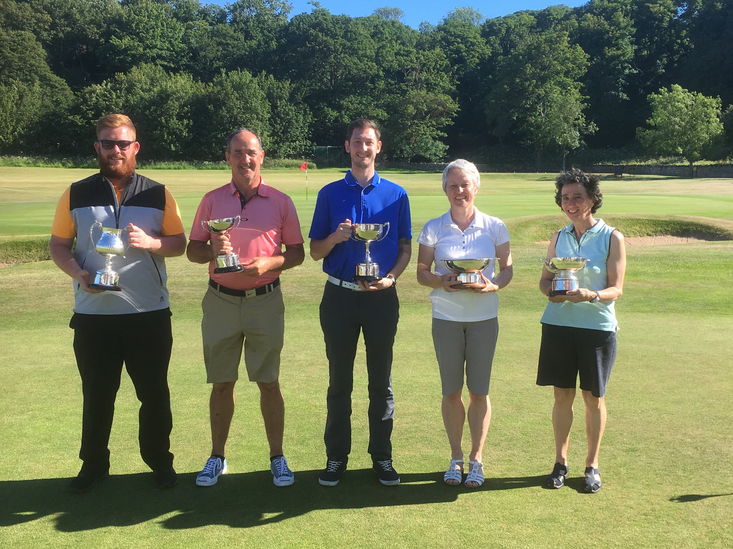 2018 Club Championship winners  (l-r Willie Halliday (A Champion), Rab Donnelly (B Champion), Elliot Alderson (C Champion), Sheila Blackwood (Silver Champion),  Ali Carslaw (Bronze Champion)