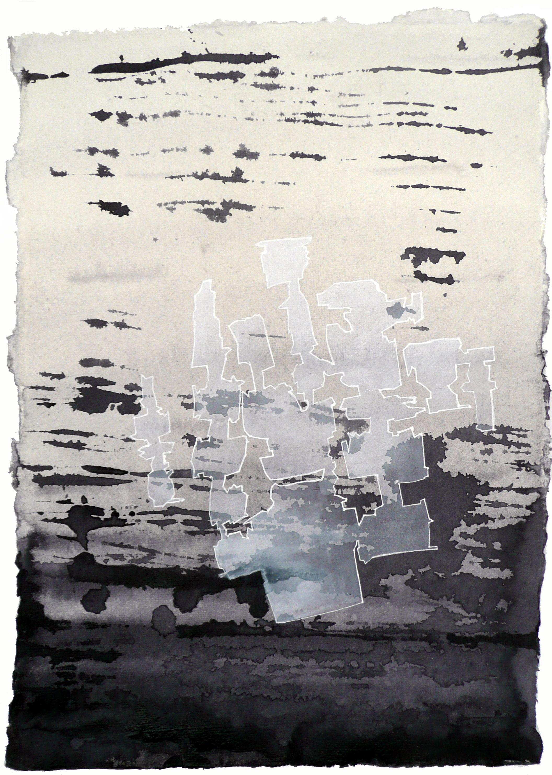 Lévitation, encres, 40x40 cm