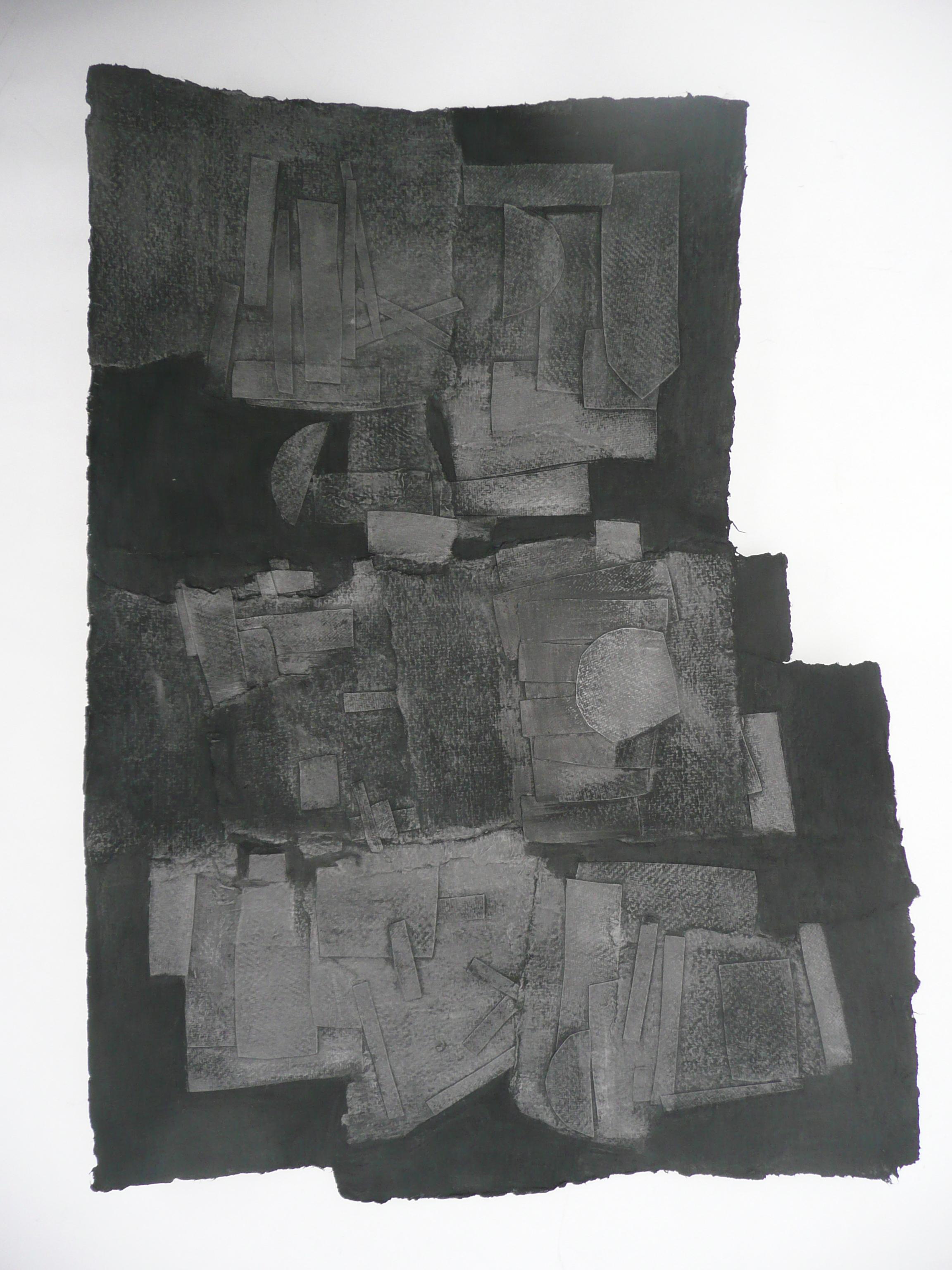 Sans titre, Papiers, acrylique Graphite, marouflé sur bois, 48 x 36 cm