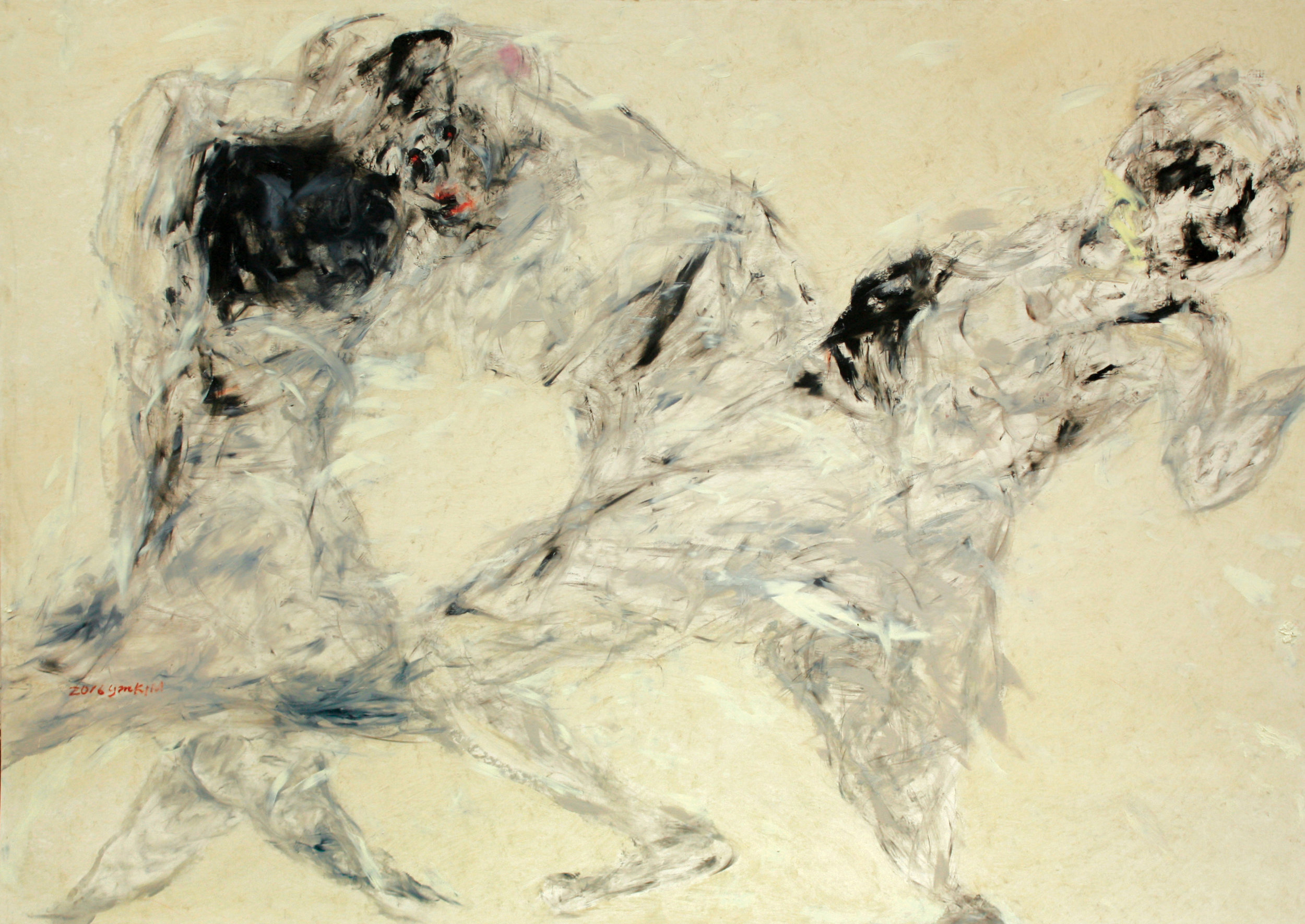 Uninhibited Dancing,2017,Oil on Paper,100x77cm
