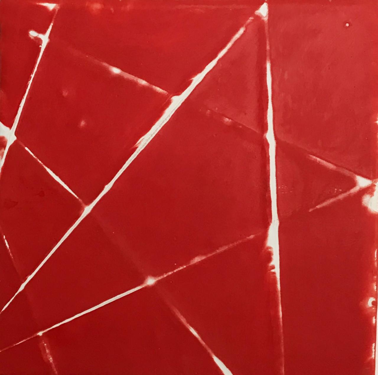 A fleur de peau : Etoile rouge Poudre de marbre et pigments, fils sur toile 20x20cm, 2017