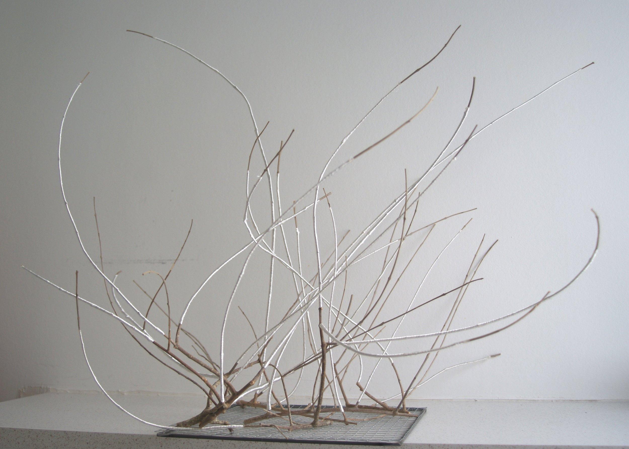 Olivier, fil de soie, grillage, 60-75-60cm