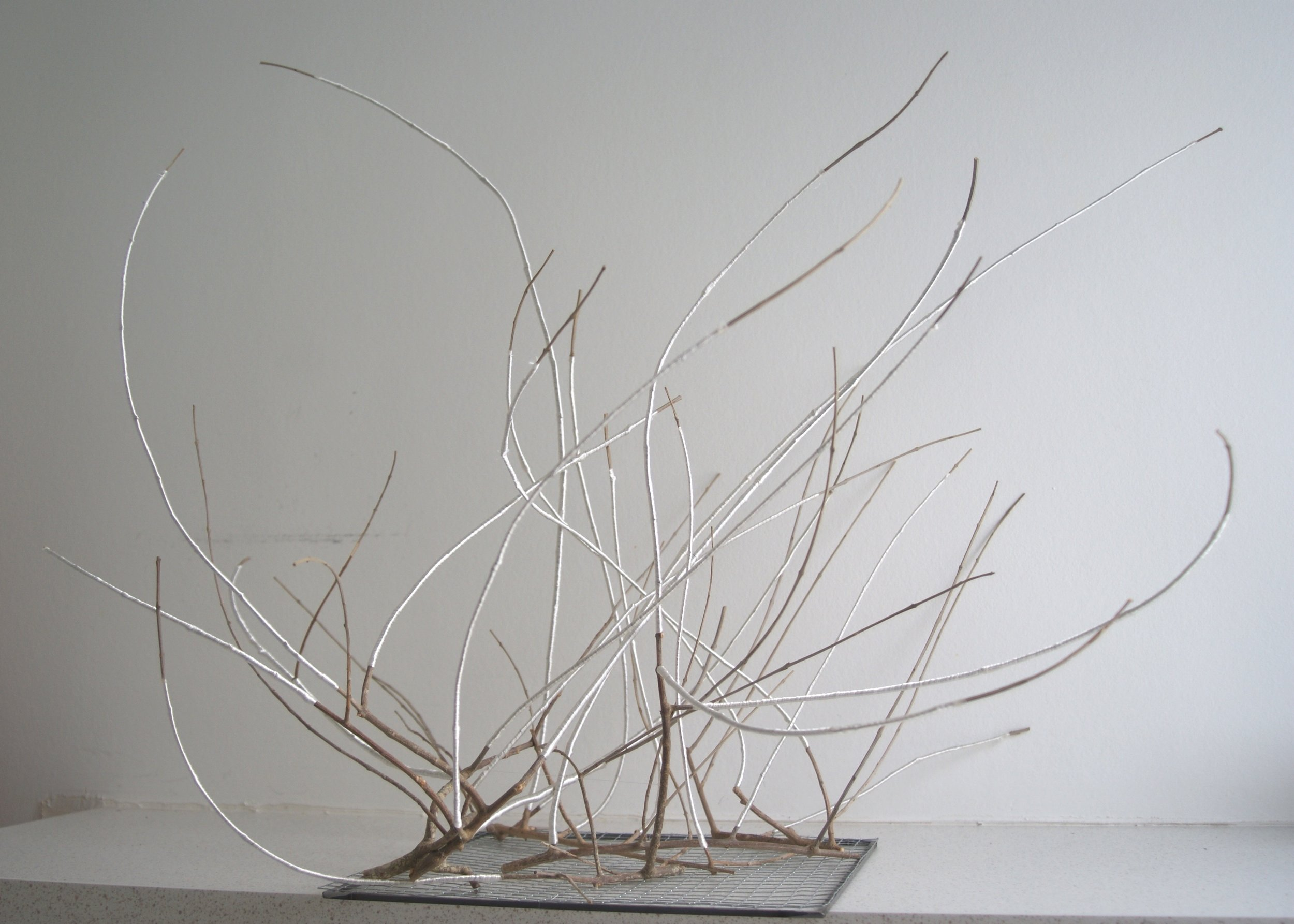 Edith Bruandet, Olivier 5, fil de soie, grillage, 60x75x60cm