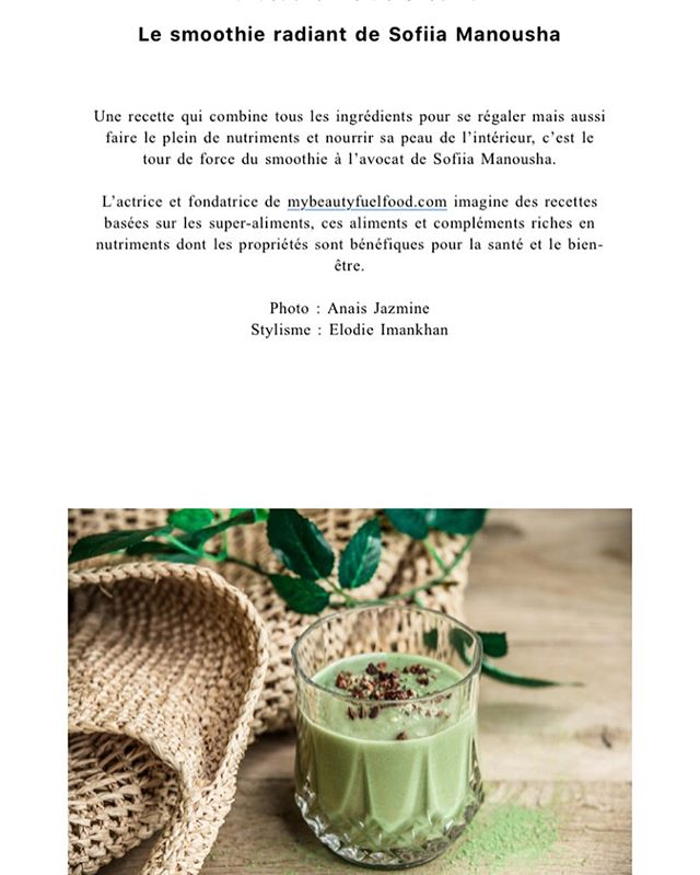 I woke up like this 🌱💚 merci ma douce @fannyliaux d'avoir partagé ma recette du « Radiant avocado smoothie » dans la newsletter de @dimdamdommagazine merci merci tellement fière 💚🌱 merci 💚 #radiantsmoothie #beautyfood #beautyfromwithin #plantbased #avocado #superfood #cacao #zinc