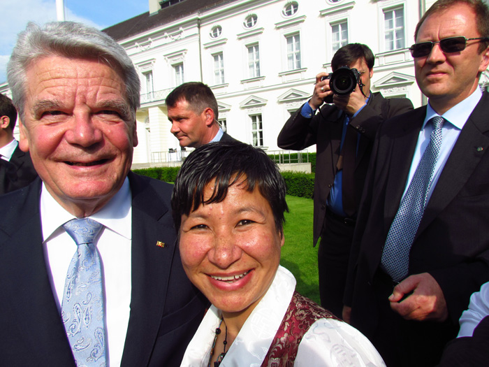 Anu, with German President Joachim Gauck at the presidential palace, 2012.