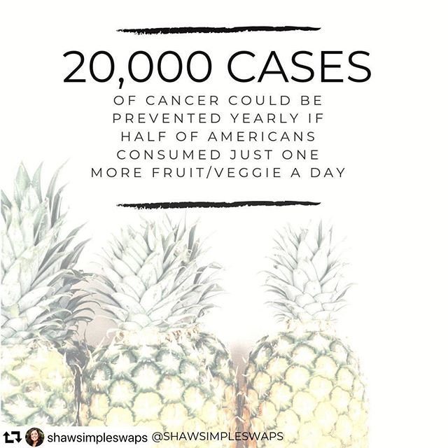 Such a good stat shared by @shawsimpleswaps ! We know it can be overwhelming to sift through all the diet and nutrition info out there so if you're not sure where or how to start - this is it! Just focus on getting in one more serving today, tomorrow, the next day...you get it. You can totally do this! Here's a couple more snack ideas to help: ➕crisp green apple with peanut butter and cinnamon ➕jicama, mango and pineapple with chili powder and lime juice ➕mini bell peppers stuffed with hummus . . #shawsimpleswaps #nourish #eatgoodfeelgood #poweredbyplants #fruitsandveggies #morematters @fruitsandveggies #eatmoreplants #eatmoreplants #trysomethingnew #healthyeats #eattherainbow