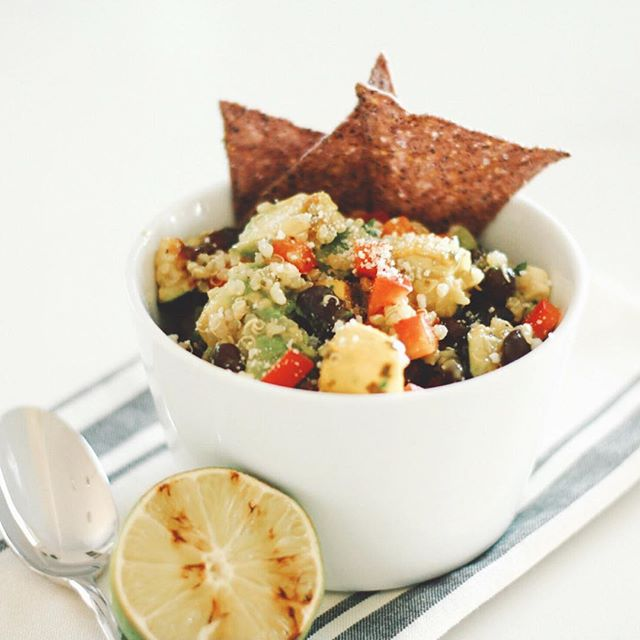 "Happy Cinco! If you're out and about celebrating this weekend and forget to plan some meals for the week - you might want to start with this easy grilled power bowl! It's loaded with colorful veggies, avocado, black beans, quinoa and creamy cilantro dressing. Here's a few tips: ✅ swap the veggies for whatever you have on hand. Even frozen veggies work well - we like frozen bell peppers. ✅ don't like black beans? No prob - try pinto or kidney. Use canned beans to save time (drain and rinse them to cut back on the sodium). ✅ add any grilled protein you like - but it's pretty filling without it tbh. ✅ serve it with some blue corn chips as a new take on a ""party dip"" . . . . #thenewhealthy #eattherainbow #nourish #plantpowered #sdblogger #celebratehealthier #dietitianapproved #eatmoreplants #eatgoodfeelgood #plantbasedrecipe #sdeats #cincodemayo"