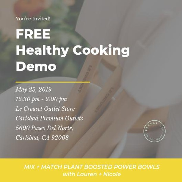 Join us tomorrow for a mini healthy meal workshop at the @lecreuset outlet store in Carlsbad. We're showing how-to mix up our popular plant boosted power bowl with ingredients you already have on hand! Just follow the smell of sizzling veggies to find us @carlsbad_po⁣ .⁣ .⁣ .⁣ .⁣ ⁣ #healthyeats #easyrecipes #cookingclass #sandiegolife #plantpowered #eattherainbow #nourish #dietitianapproved #carlsbad #eatmoreveggies #trysomethingnew #thenewhealthy #pantry  #castironcooking #grainbowl #encinitas #plantbased #wholesome #powerbowl #sandiegofood