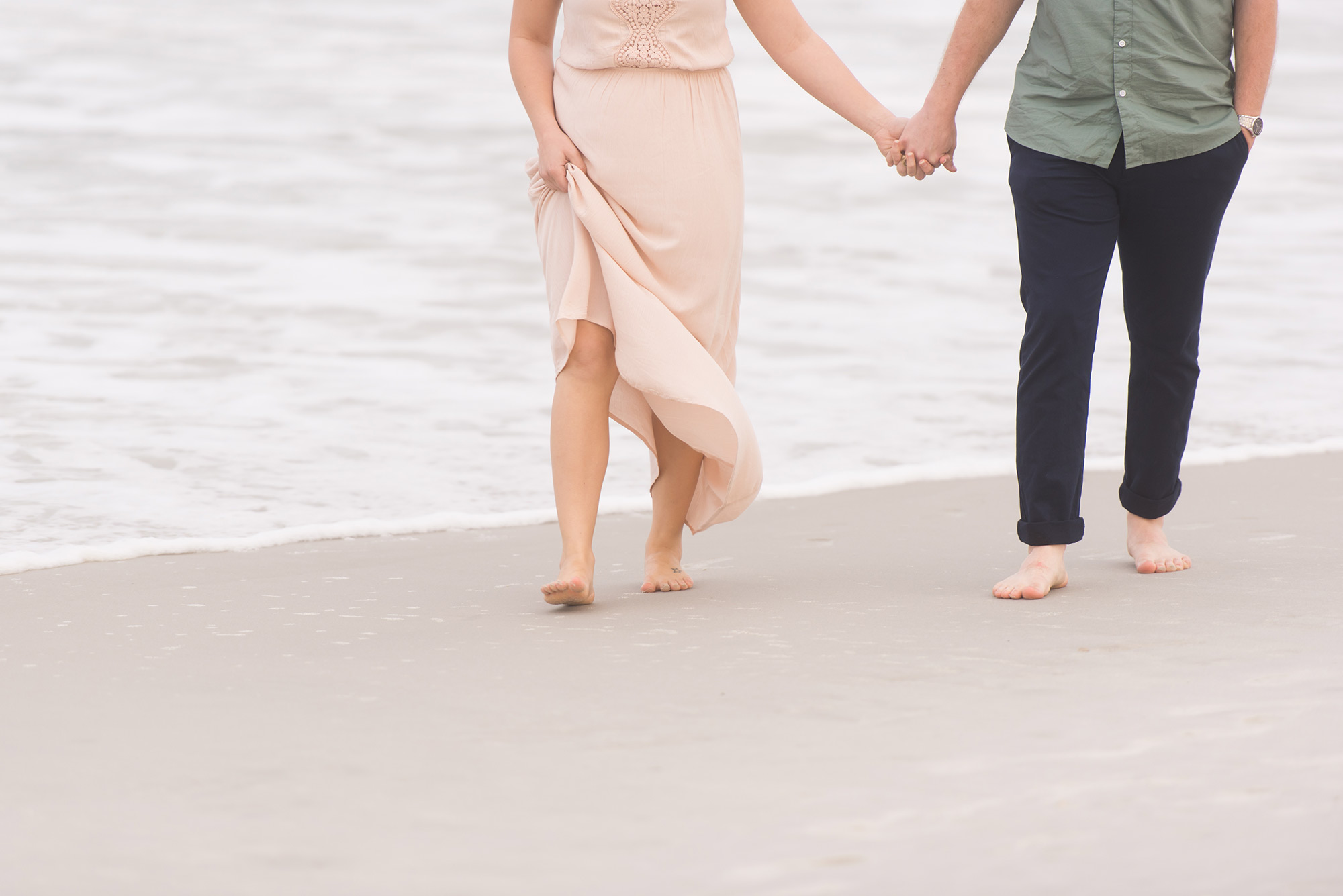Engaged Couple Holding Hands Walking Barefoot on Beach  |  Hawaii Engagement Photos  |  Life & Art Photography  |  Destination Wedding Photographer