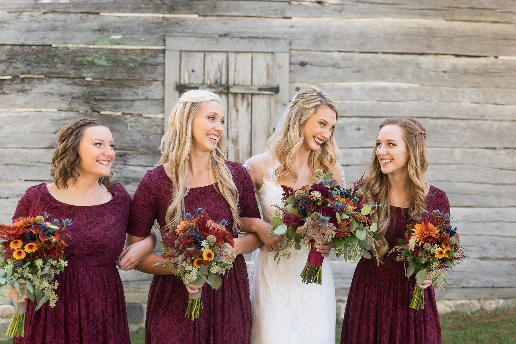 Copy of Bride and Bridesmaids in Maroon Bridesmaid Dresses on Wedding Day  |  Life & Art Photography  |  Destination Wedding Photographer