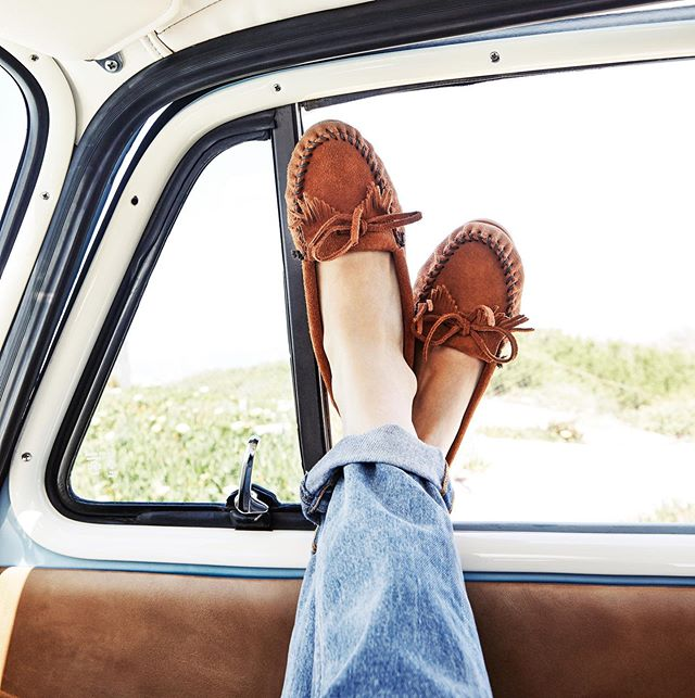 Weekend wandering in my favorite @minnetonkamocc kilty's - officially been traveling in various versions of this shoe for the last 25 + years. Photo snapped in my dad's truck somewhere on the California coast. Where are you headed this weekend? #myminnetonka