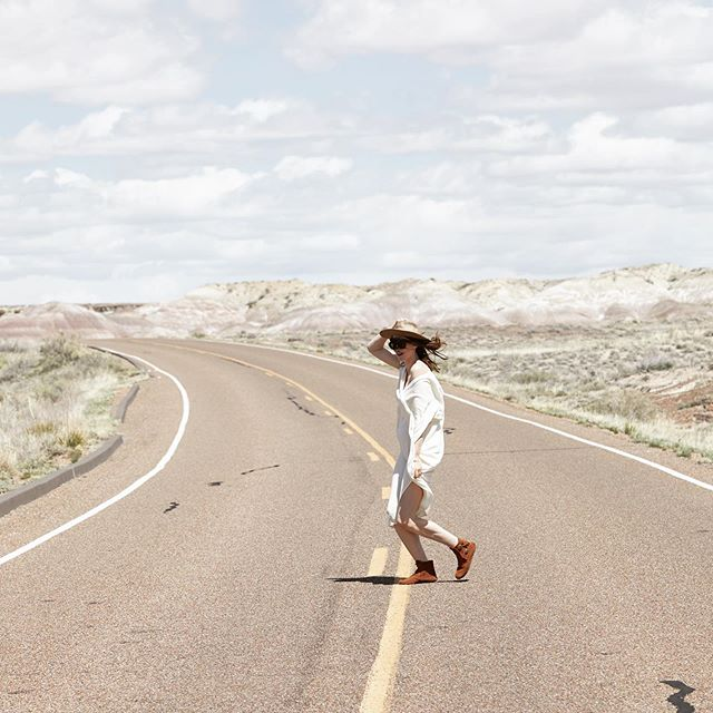 Forever wandering somewhere and always up for the adventure! Find the thing that makes you feel most alive and do it as often as possible. For me - that typically consists of an open highway, good music, local organic food co-ops, and the loveliest travel companions. Shot this in the #painteddesert wandering with @rachiealexander and a car full of @minnetonkamocc a few months back ❤️ Dress by @hatchgal (and now that baby bump is much bigger!!)