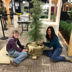 Emily Saperia & I setting up for Mass Horticultural Society exhibit at Boston Flower & Garden Show 2018