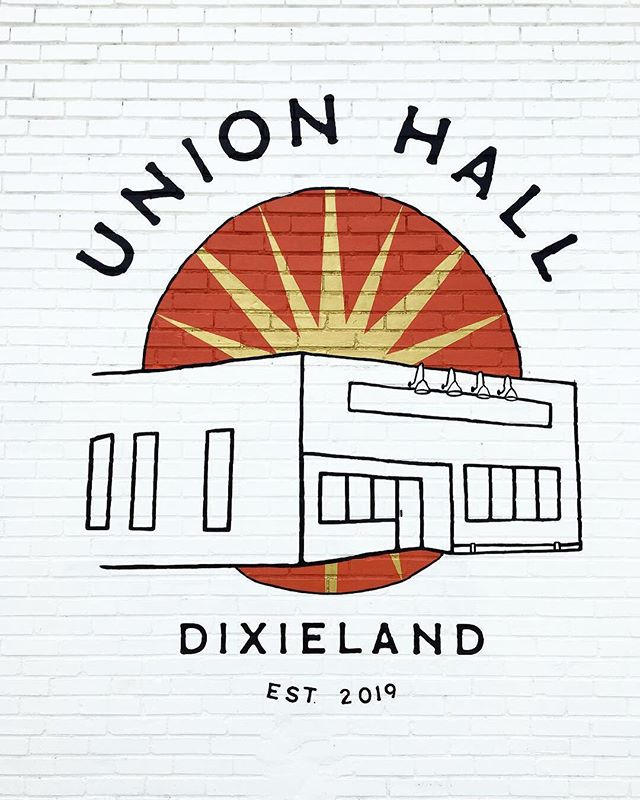 Finally finished with the first of two Union Hall murals. I'll be working on the second one soon, which will be inside over the stage. I'm a graphic designer, but sometimes I'm commissioned for more artistic projects like this one, and those are my favorites 🖤 @union.hall