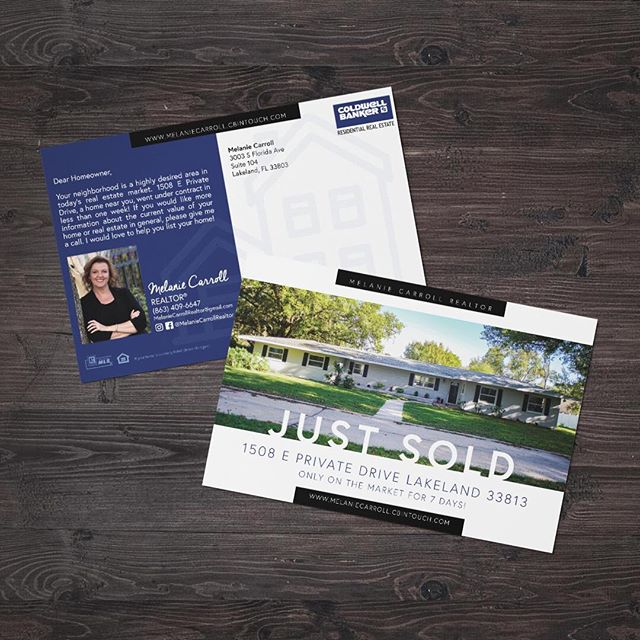 Direct mail marketing piece for @melaniecarrollrealtor⁣⠀ -⁣⠀ Most digital marketing is overlooked and goes unnoticed. Have you thought about traditional marketing? Sending postcards, writing letters, or mailing print pieces directly to your potential customers is more intentional and a great way to capture their attention with a personal touch. ⠀ -⁣⠀ #logodesign #branding #graphicdesign #smallbusiness #localbusiness  #lkld #lakelandfl #graphicdesigner #logo #pattern #pantone #CarrollDesignCo #adobe #adobeillustrator #realtor #realestateagent #lkldrealestate #coldwellbankerresidential #melaniecarrollrealtor #lakelandassociationofrealtors #marketing