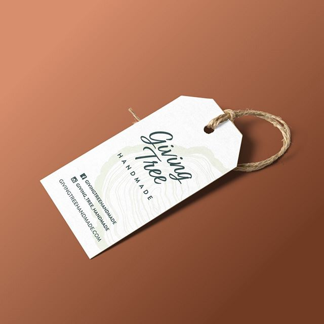 Custom product tags for Giving Tree Handmade - Branding goes beyond the logo, it's the aesthetic that your business displays in every detail and aspect, even down to the tags you hang on your products.  #graphicdesign #handmade #lkld #smallbusiness #businesstobusiness #b2b #designer #branding #welovelogos #welovebranding #welovedesign #adobe #brand @giving_tree_handmade