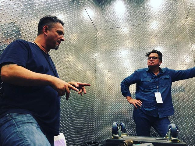 #fbf to the bosses talking shop in the WTC freight. Also! Happy belated Thanksgiving from the TVT family to yours. 🦃 // // // // // // #production #liveevents #freightelevator #loadingdock #audiovideo #broadcast #systems #yamaha #blackmagic #ross #panasonic #varicam35 #fujinon #cabrio #canon #television #webcast #doitlive #tvtechmanagers #tvtech #TonyP #KHart