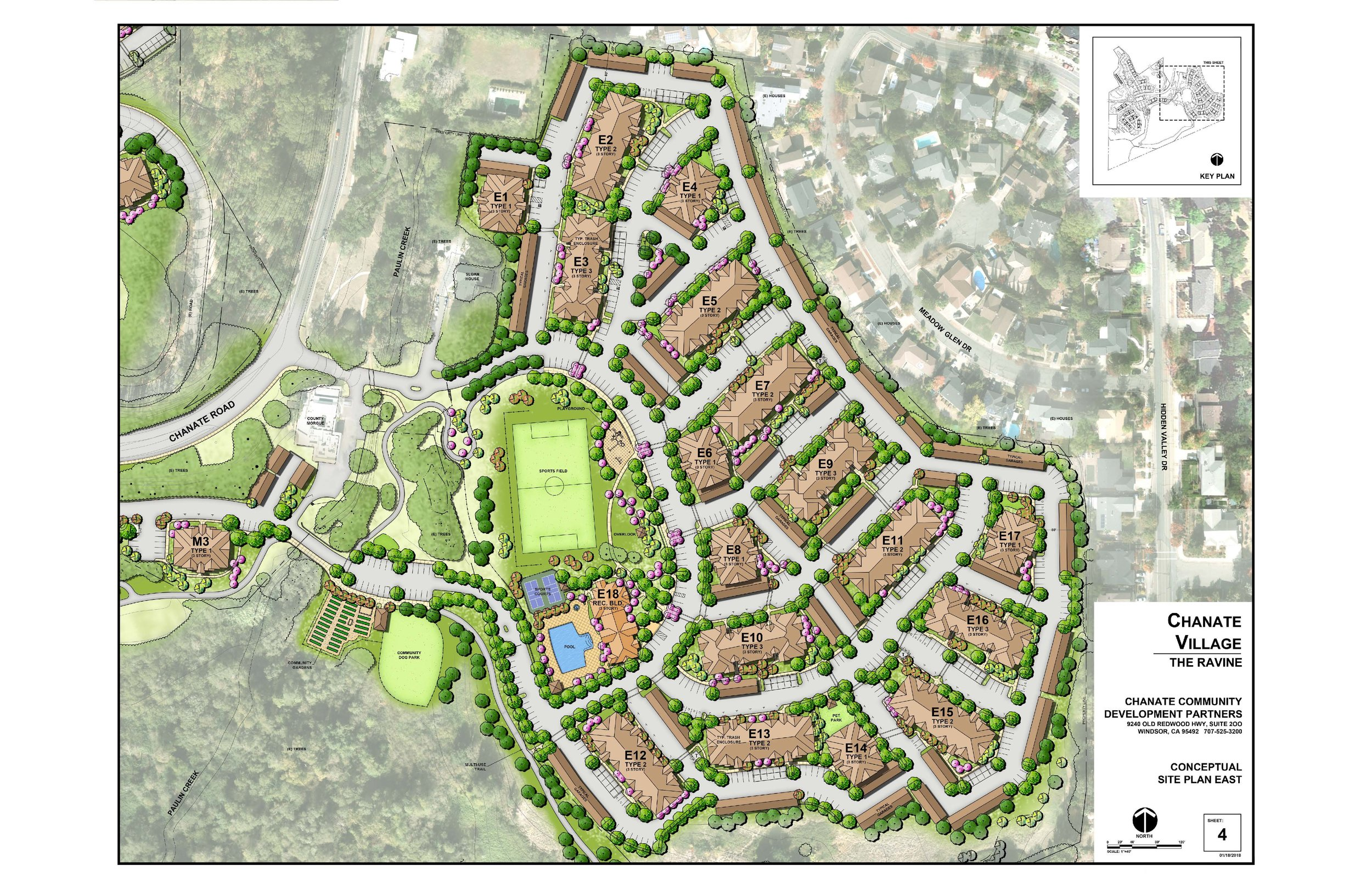 This plan represents the three story apartments that will backup to single family residences (many are one story, there are also a few two story residences) along Meadow Glen Drive, Hidden Valley Drive and Rolling Hill Drive.