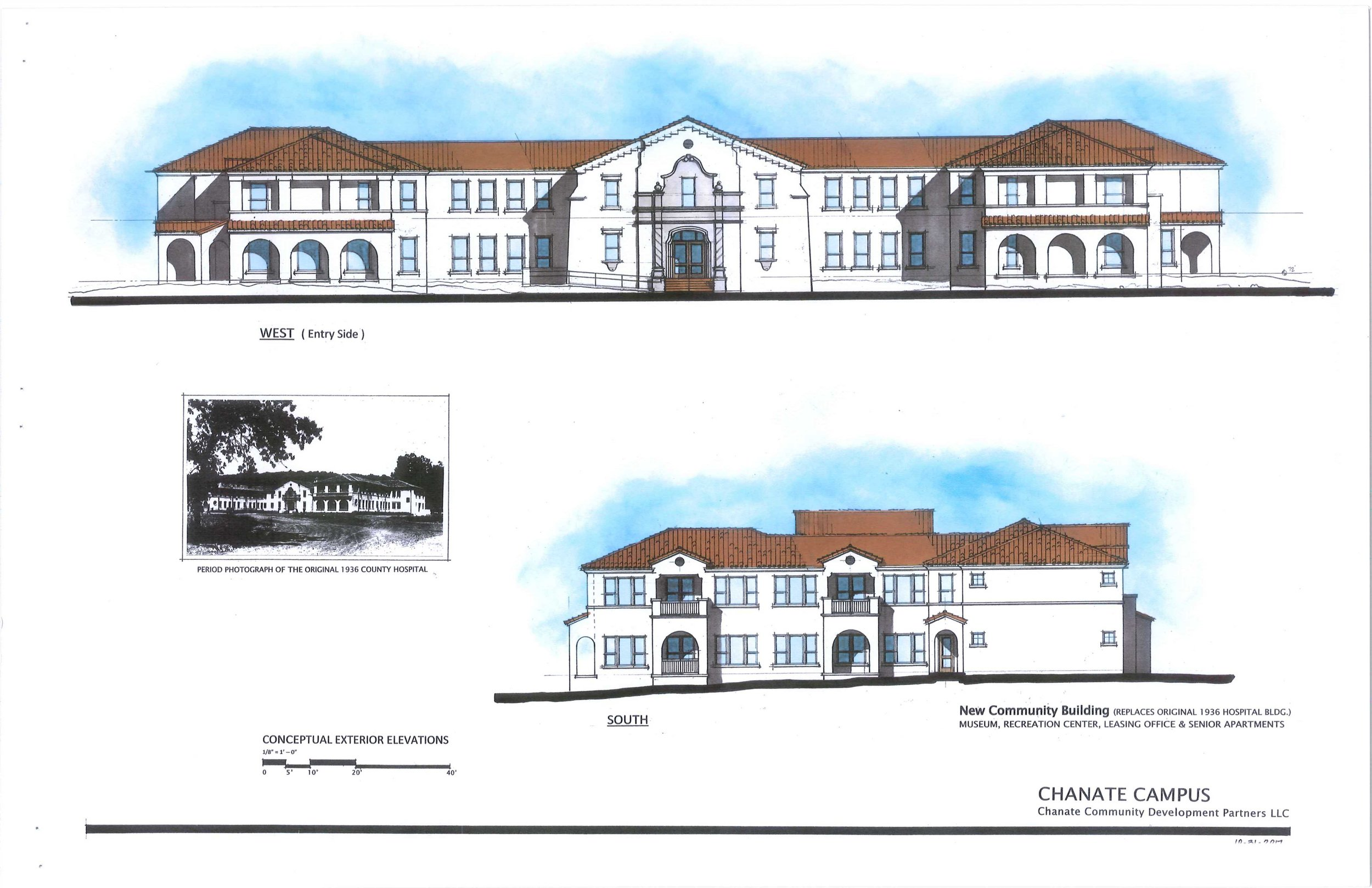 This is the conceptual elevation of the building that will replace the original hospital. It appears to preserve the main entrance façade. Most of the main floor will be recreational rooms. There will be rental units on part of the first floor and all of the second floor.