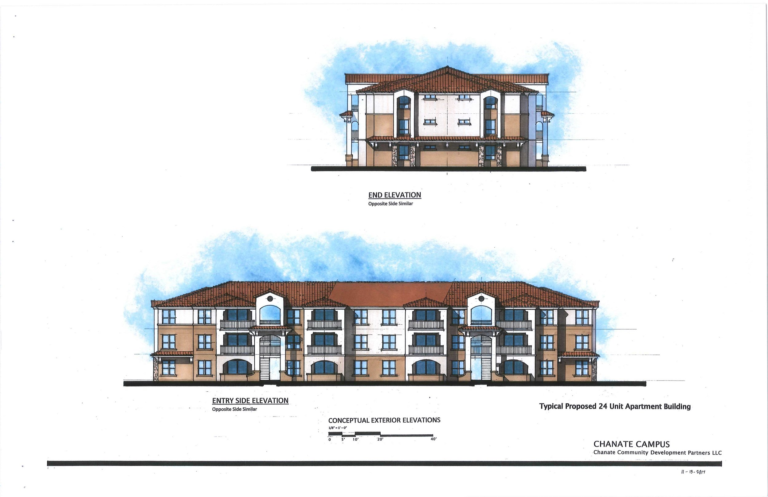 This is the conceptual elevation of the three story apartment house that will be used throughout the Chante Village. These will be placed in back of the single family dwellings along Chanate Court, Meadow Glen Drive, Hidden Valley Drive and Rolling Hill Drive.