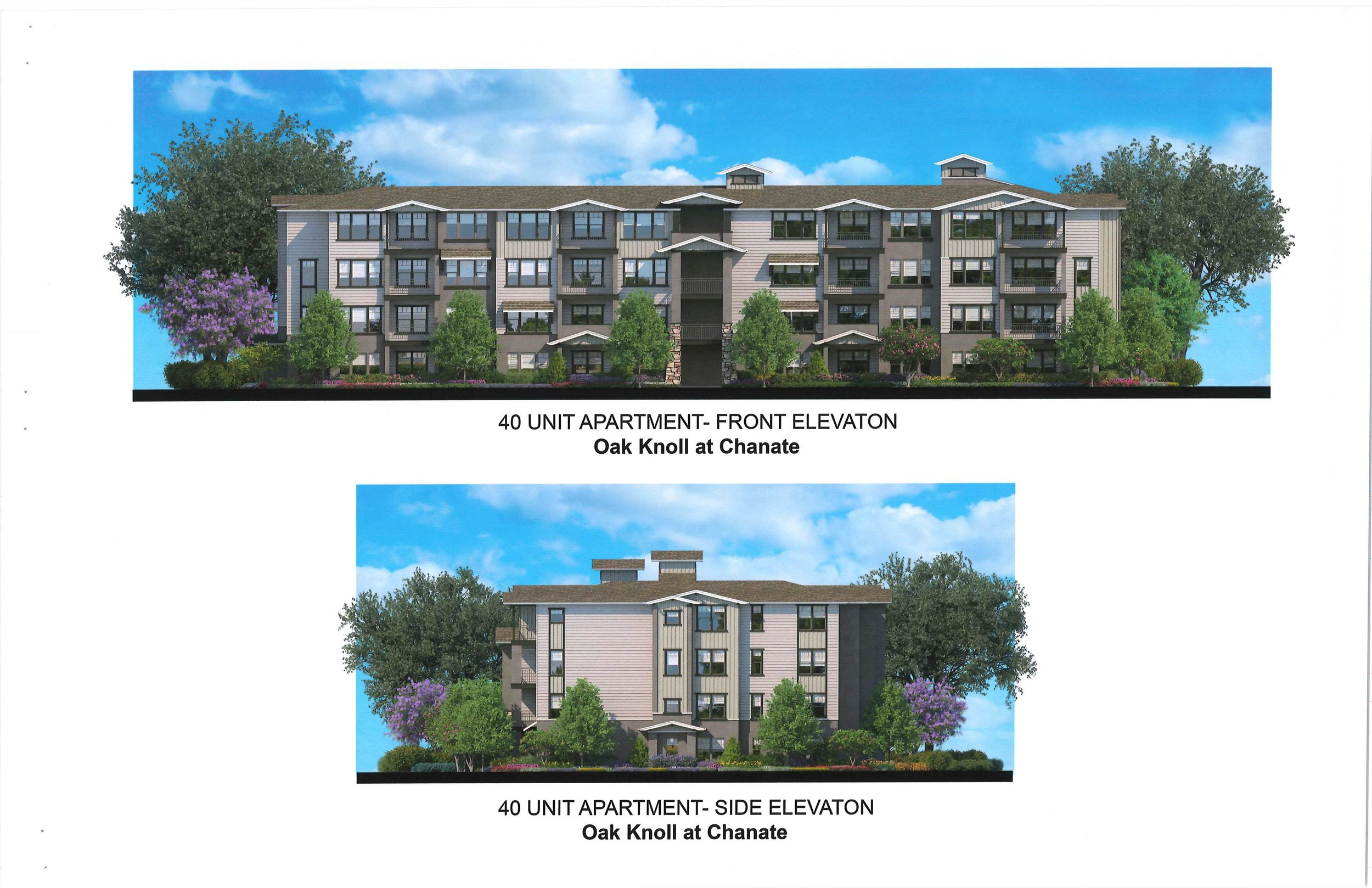 This is the conceptual elevation of a four story apartment building with 40 units for the Senior Housing Facility in this development.Two 40 unit four story buildings and three 60 unit four story buildings are planned for the Senior Facility. A total of 260 Senior units are planned.