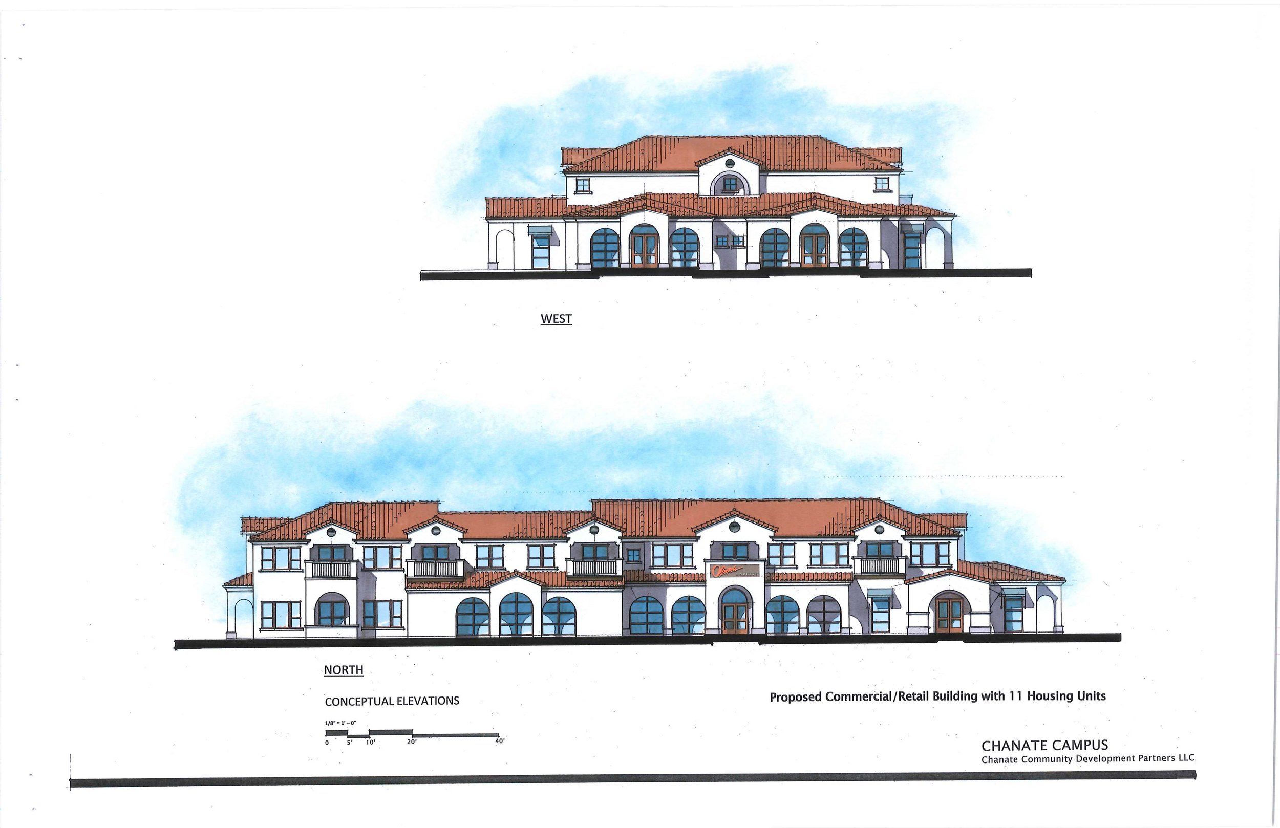 This is the conceptual elevation of the commercial building that will face Chanate road. It will house a grocery store along with other small businesses. Eleven housing units are planned for above the commercial entities.