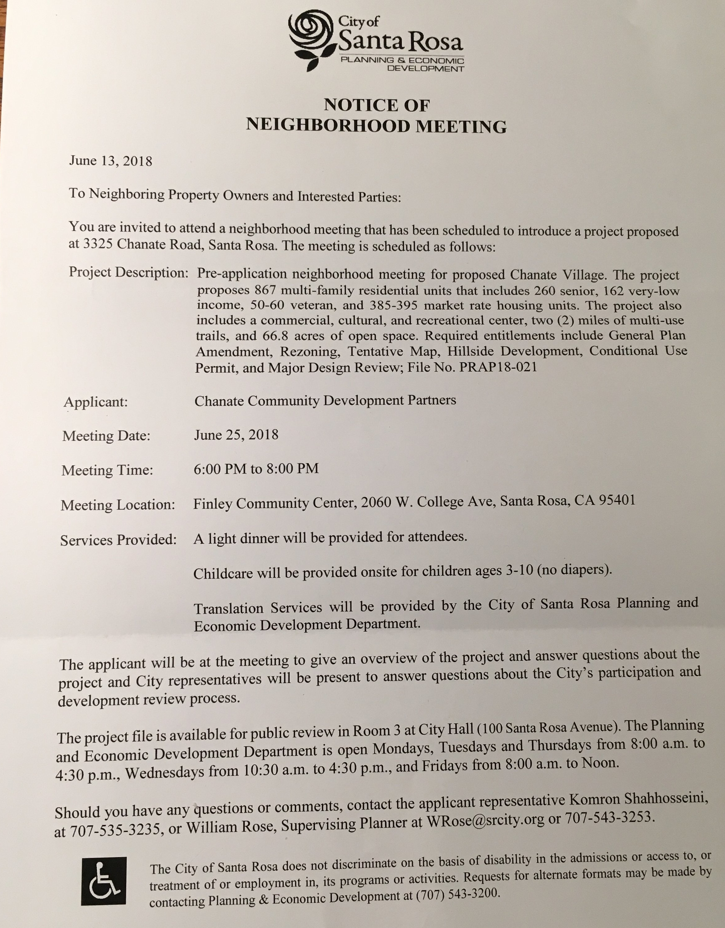 """This letter was received by the residents within 400 feet of the proposed project. The project map was shown on the back. It can be viewed on """" The Project """" page of this website."""