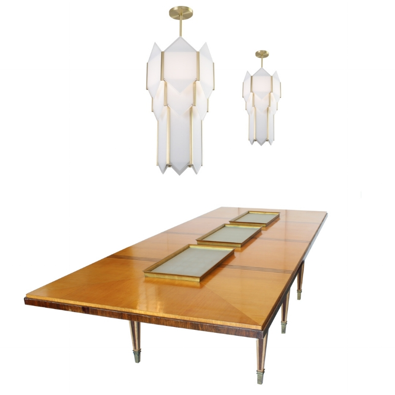 1940's Illuminated French Art Deco Six Leg Dining Table with Two Skyscraper Chandeliers