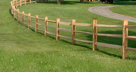 Split rail fencing is a beautiful, natural option for an aesthetic border or pet containment. -