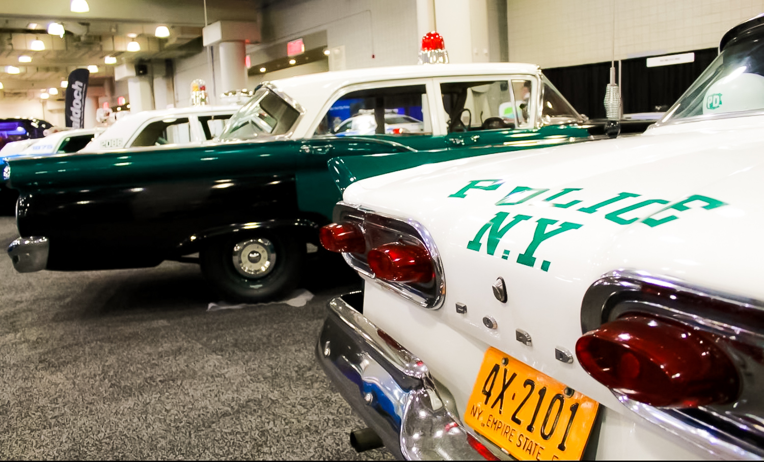 FORD CUSTOM 300 – Collection of classic NYPD police cars dating way back to the 1950s.