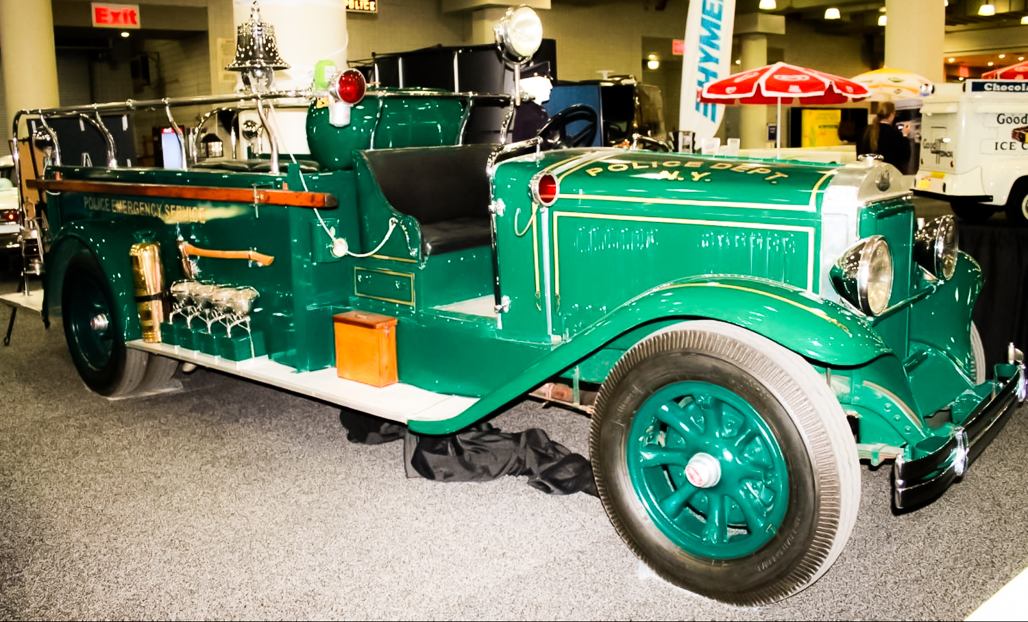 NYPD EMERGENCY SERVICES TRUCK – In the 1930s, the NYPD established a specialized unit called the Emergency Service Unit, equipped with heavy tools and submachine guns. They rode around in open-top trucks like this.