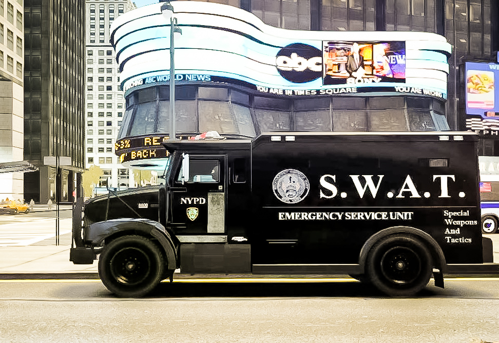 SWAT (Special Weapons And Tactics) NYPD car in Times Square, 2019