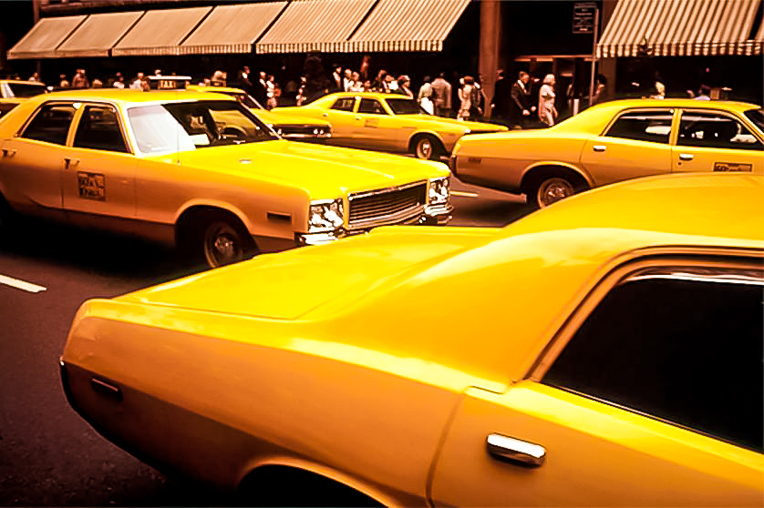 the yellow cabs in the 1970s. image: NYPL