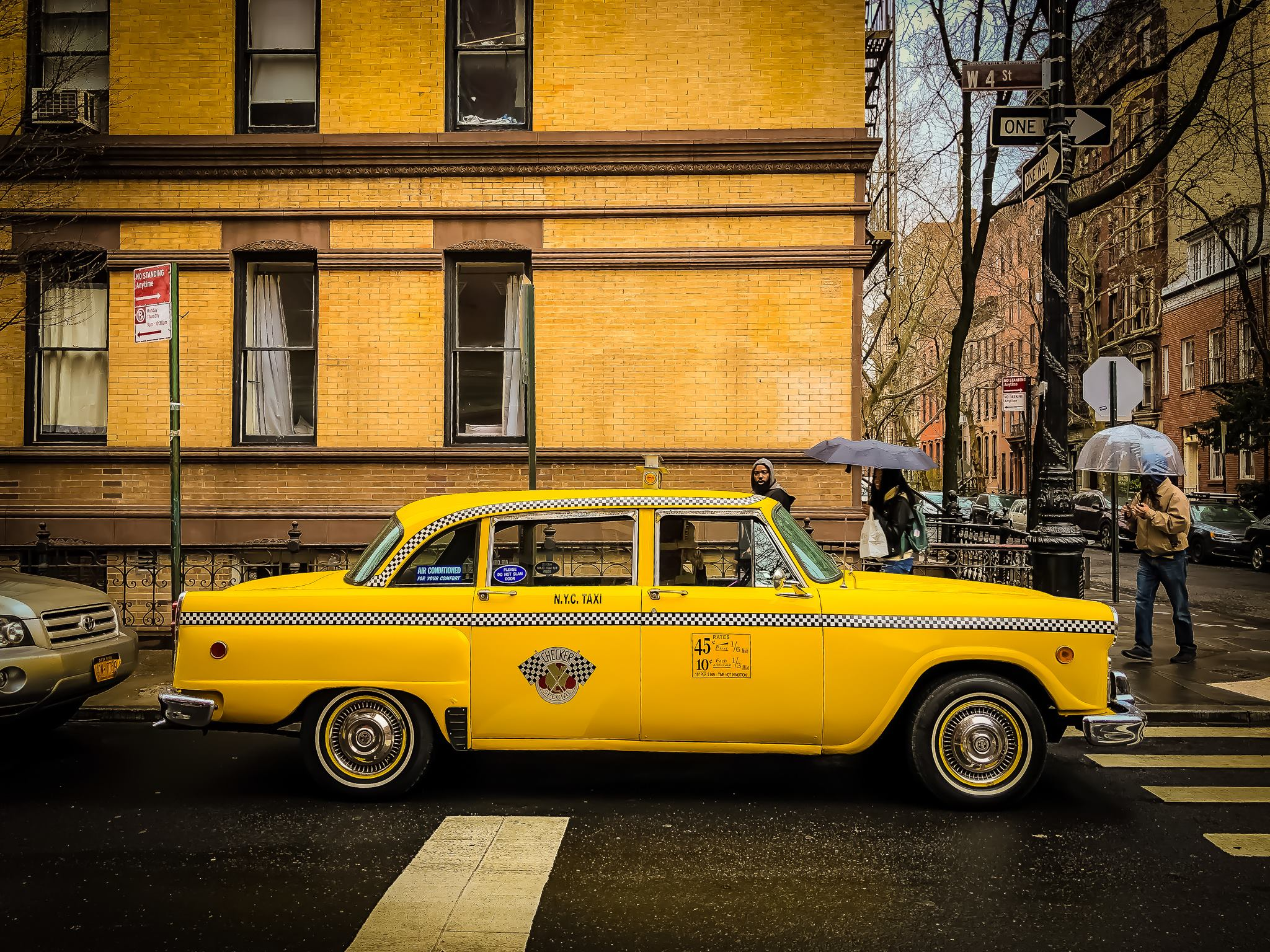 an original checker cab in the west village in 2019. photo: @lucascompan