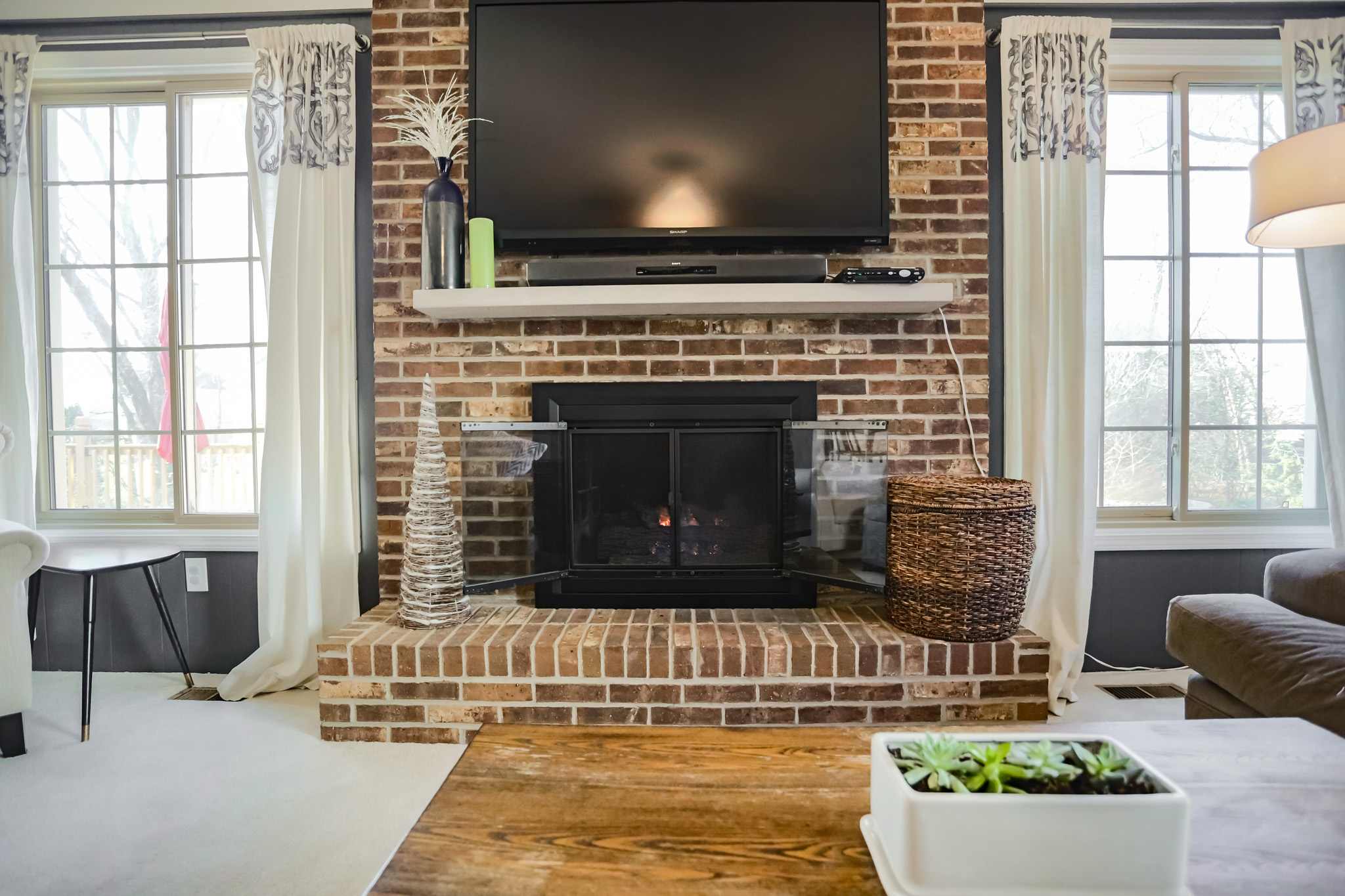 Our beautiful family room fireplace.