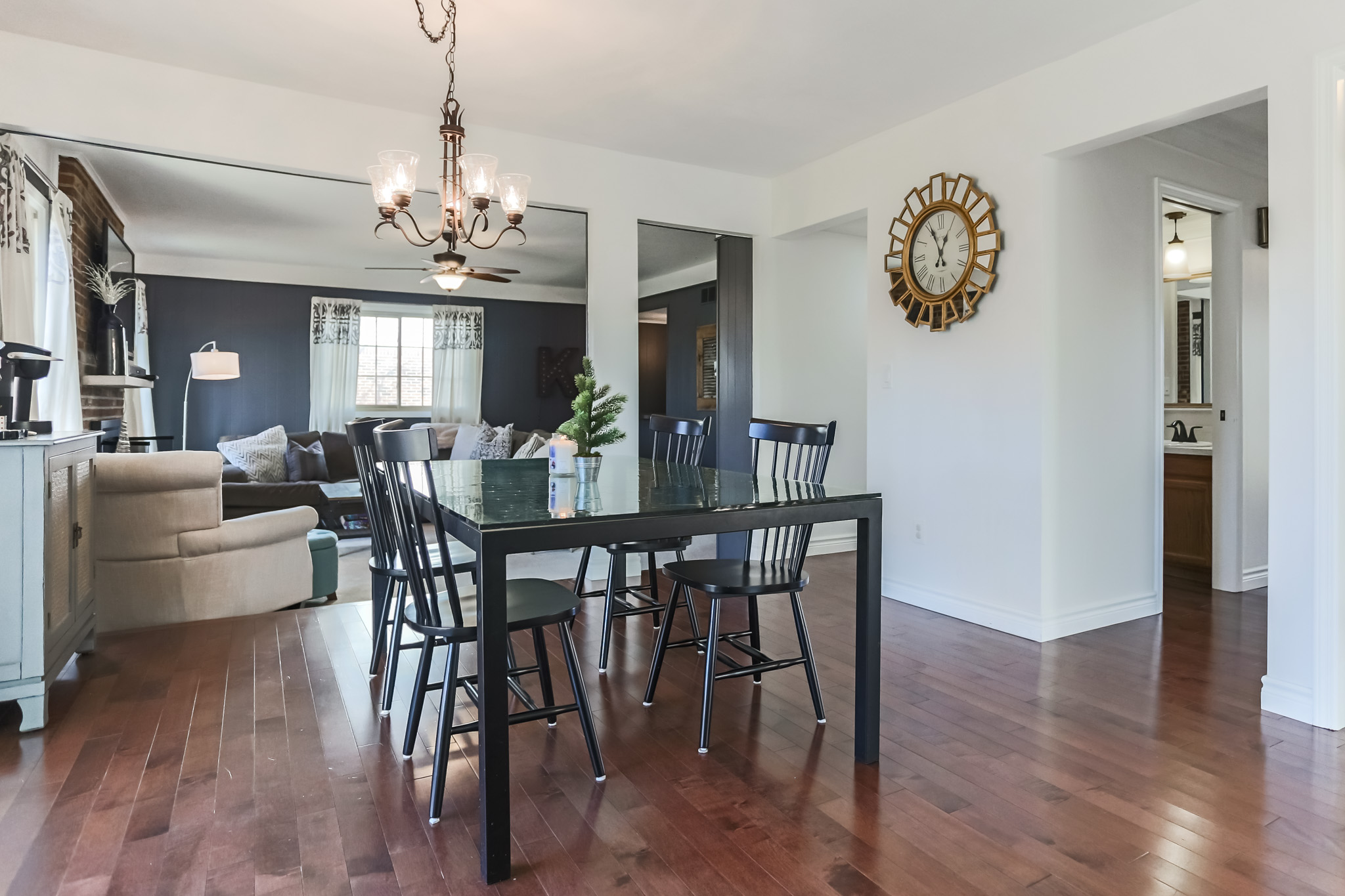 """The """"other end"""" of the kitchen. A little sneak peak into the family room too!"""
