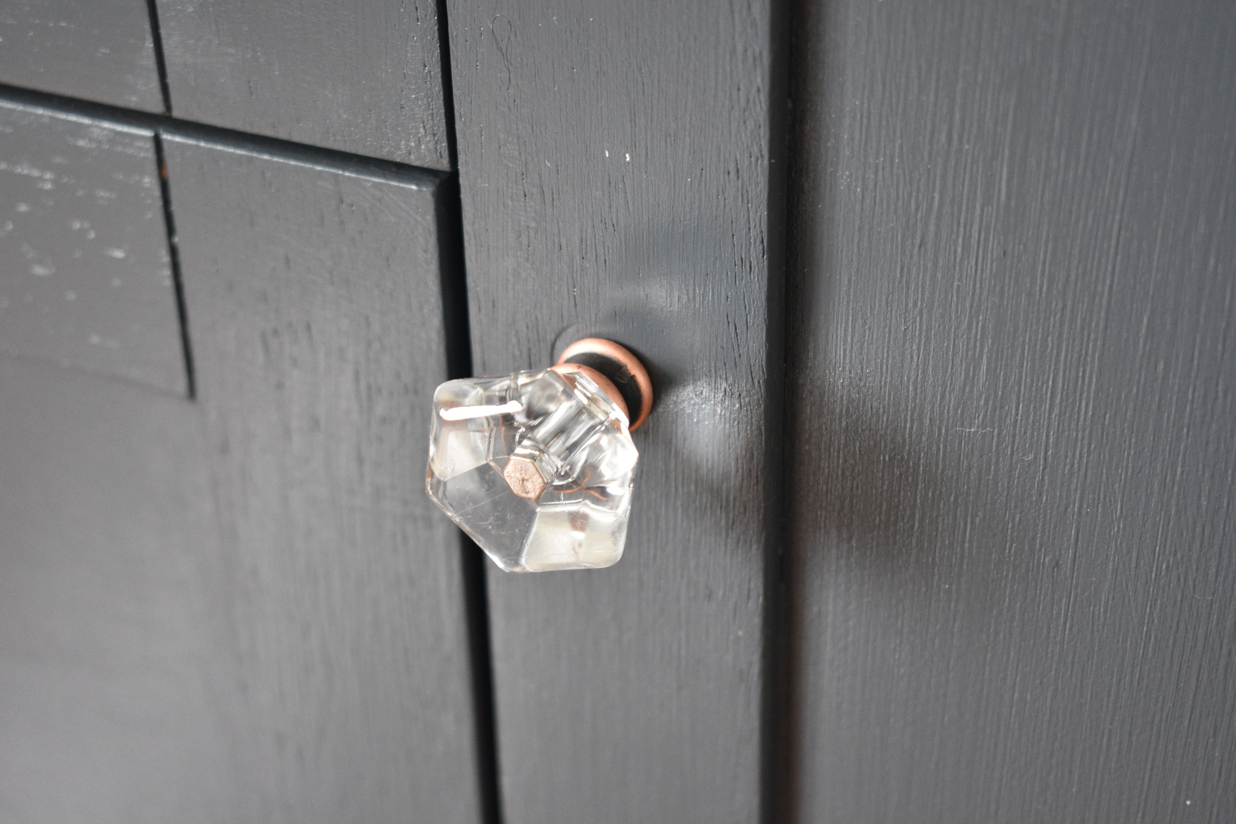 New glass knobs are a nice touch to give it a bit of sparkle