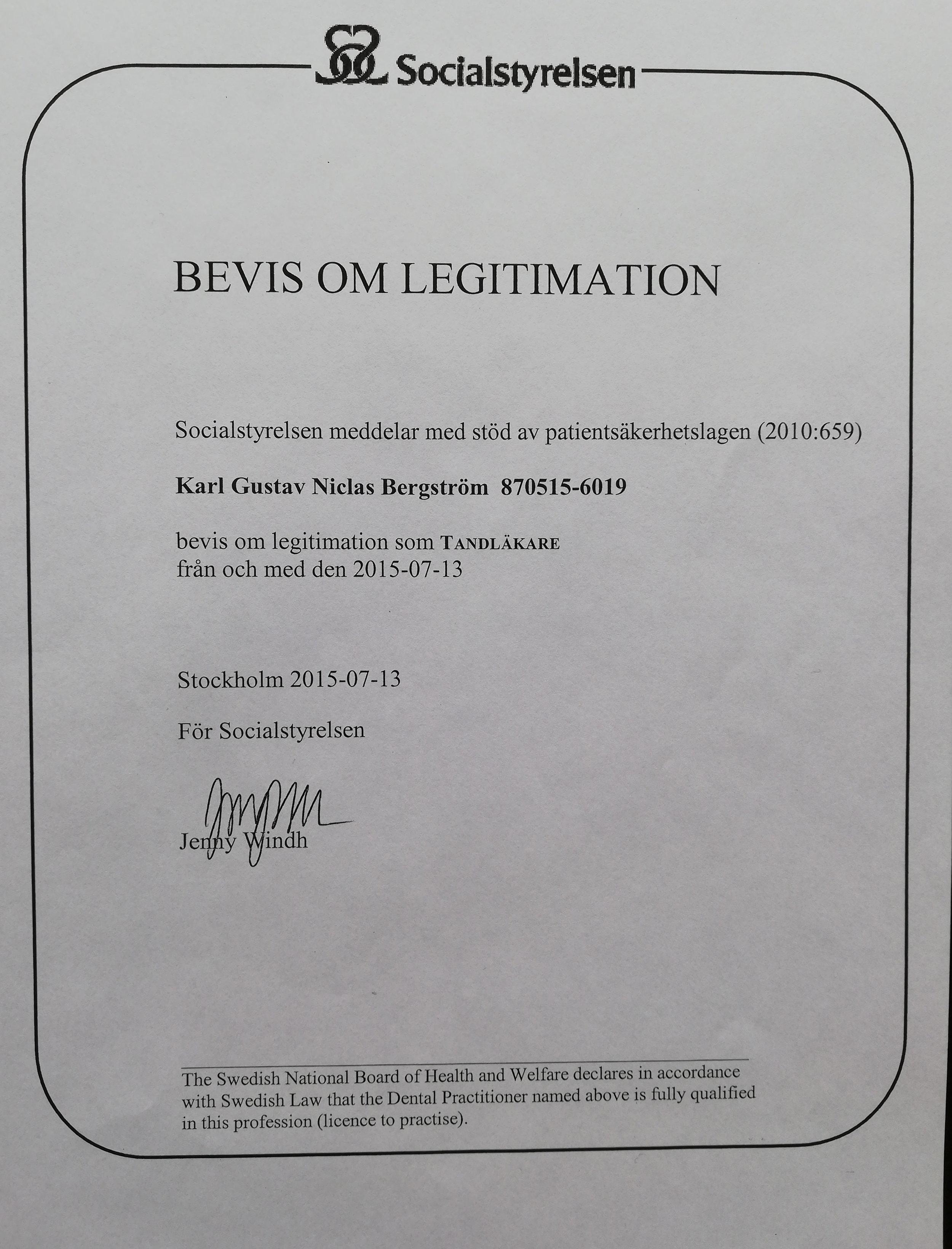 Bevis om Legitimation