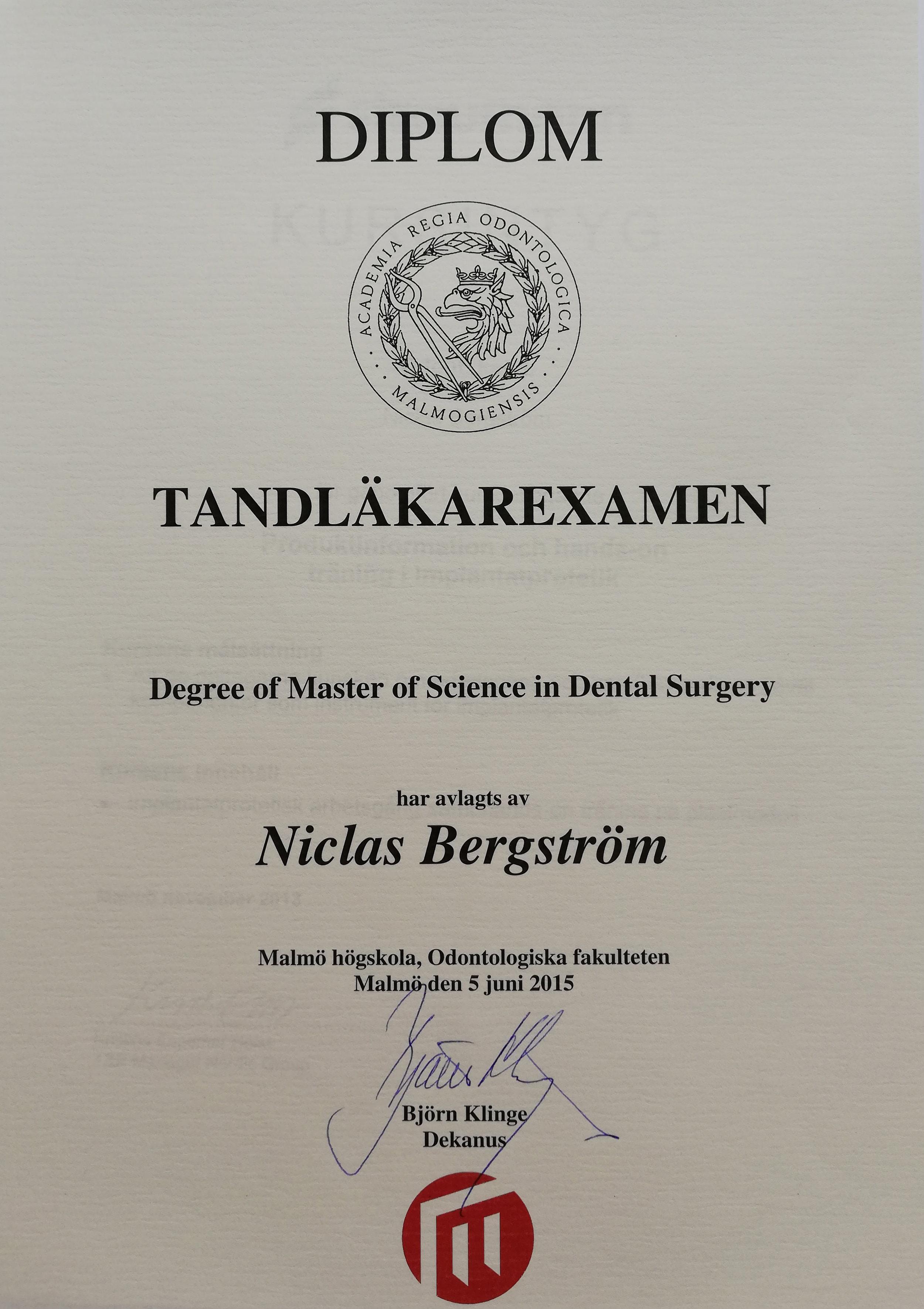 Diplom Tandläkarexamen