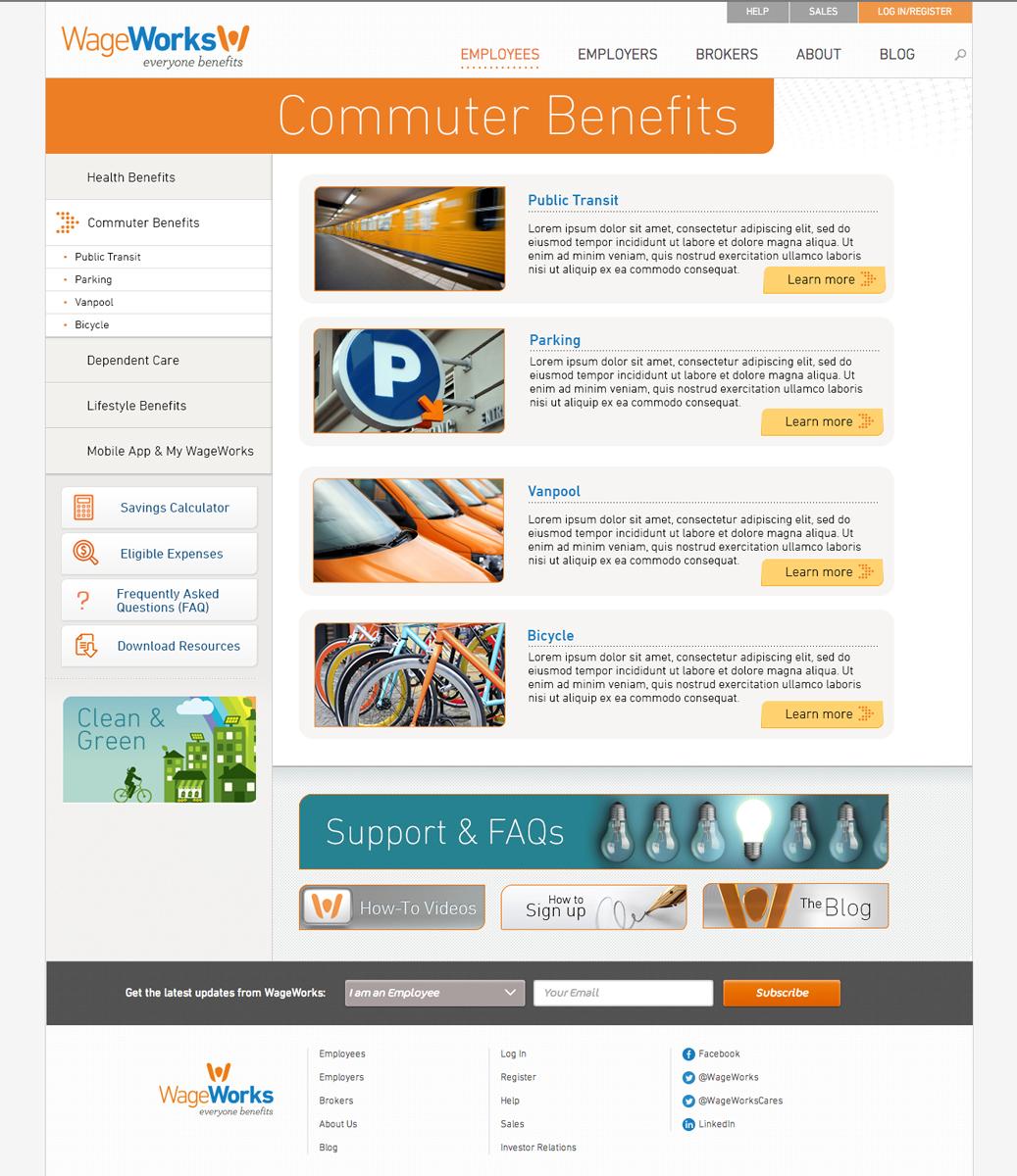WageWorks Commuter Benefits Landing Page