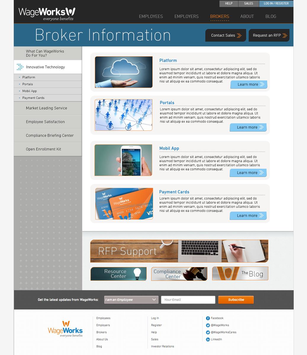 WageWorks Broker Information Landing Page