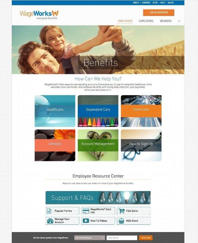 WageWorks Employee Benefits Landing Page