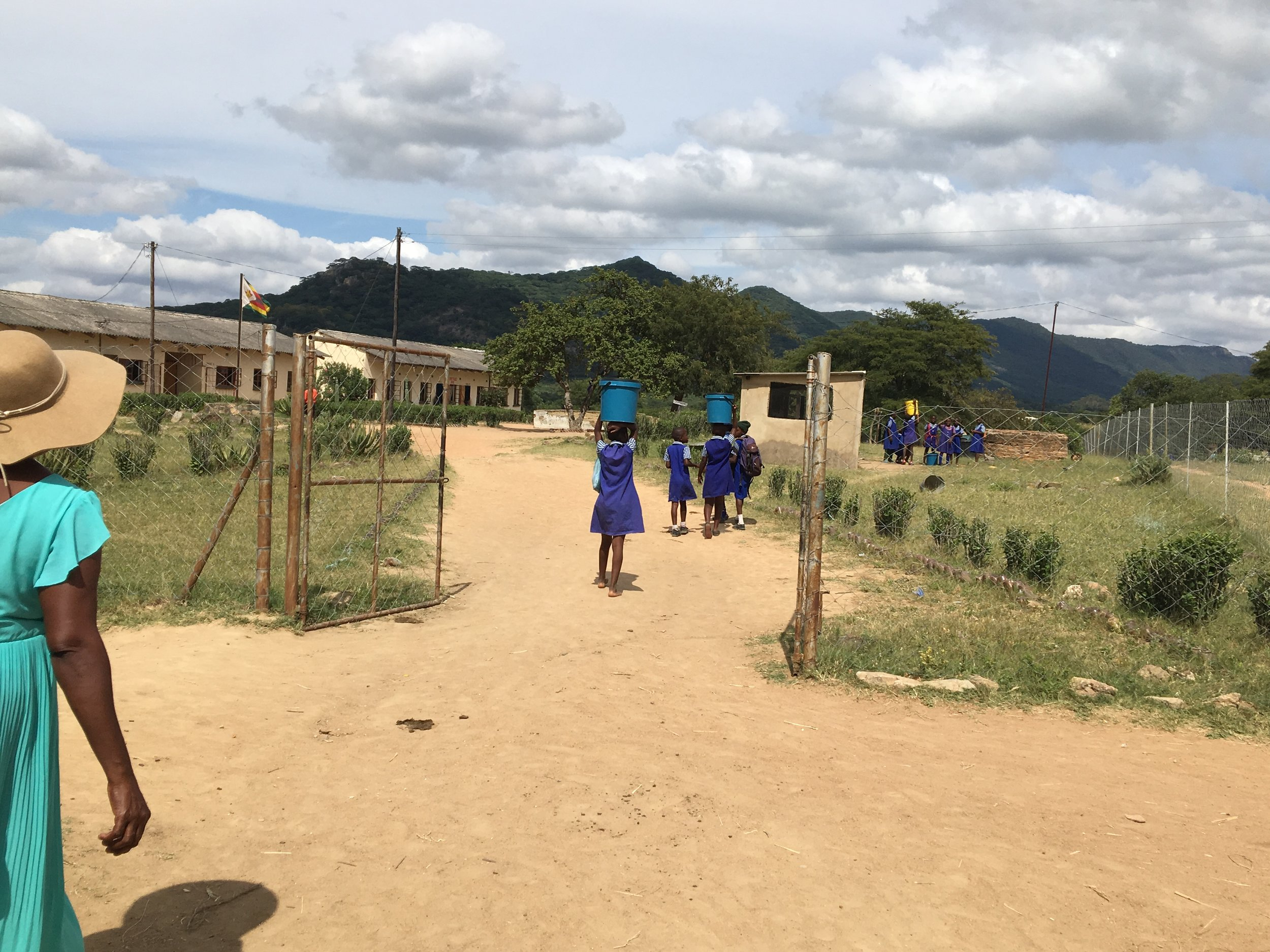 CARRYING WATER FOR THE SCHOOL CHICKENS….  THAT'S RIGHT! CHAMATUTU PRIMARY SCHOOL HAS ITS OWN CHICKENS!