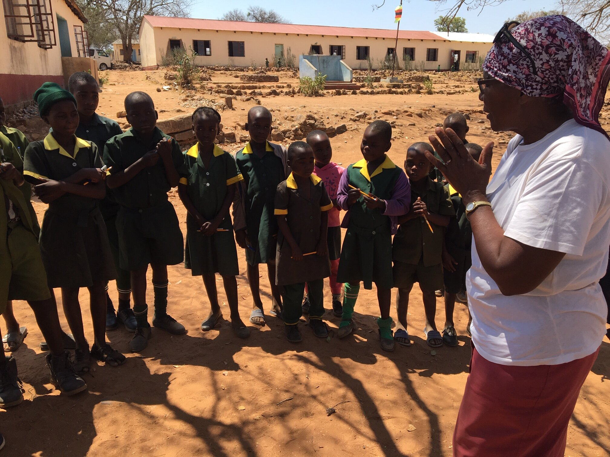 Prisca has a chat with the Zienzele students of Mushai