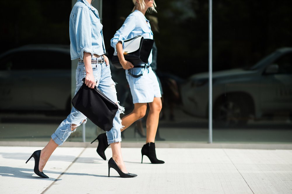 studded hearts NYFW Spring Summer 2015 shows streetstyle double denim - Peace for bloggers x journalists?